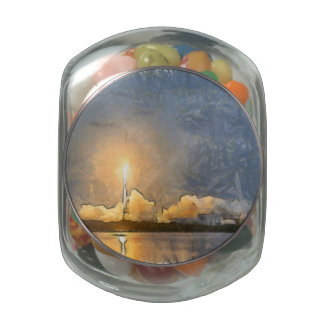 Take Off of flaming rocket Jelly Belly Candy Jars