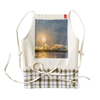 Take Off of flaming rocket Zazzle HEART Apron