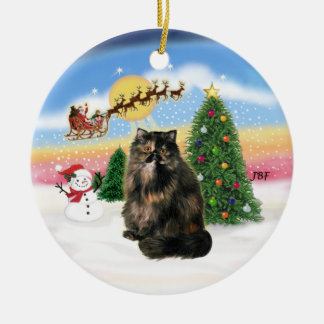 Take Off - Tortie Persian cat Christmas Ornaments