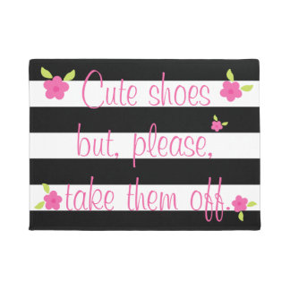 Take Off Your Shoes Striped Doormat