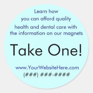 Take One! sticker for health/dental