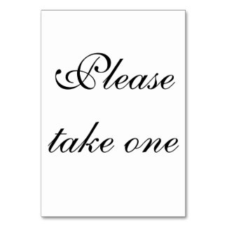 take one Thank you Table Card