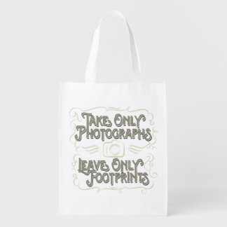 Take Only Photographs, Leave only Footprints Reusable Grocery Bag