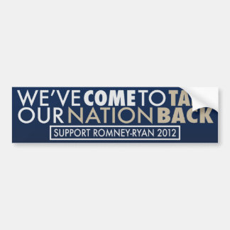 Take Our Nation Back Romney-Ryan Blue Auto Decal Bumper Sticker