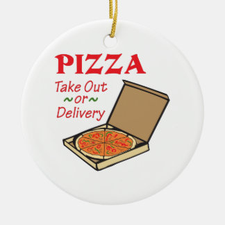 TAKE OUT OR DELIVERY Double-Sided CERAMIC ROUND CHRISTMAS ORNAMENT