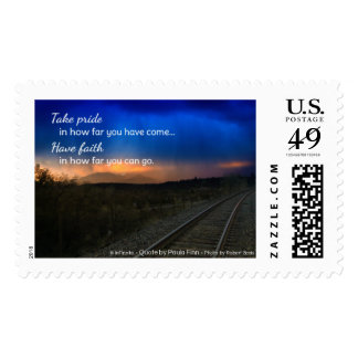 Take pride in how far you have come... postage stamps