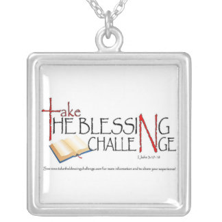 Take_the_Blessing_Challenge Square Pendant Necklace