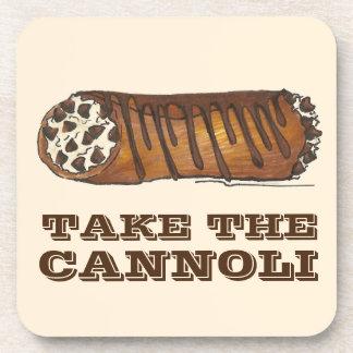 Take the Cannoli Chocolate Cannolis Food Coaster