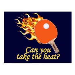 Take the Heat Flaming Ping Pong Postcard