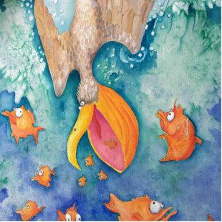 """Take the plunge!"" Pelican & Fish Art Cutout"