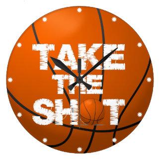 Take the Shot Basketball Large Clock