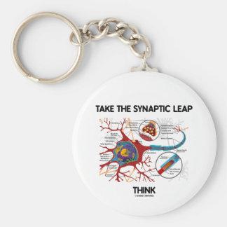 Take The Synaptic Leap Think (Neuron / Synapse) Basic Round Button Keychain