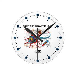 Take The Synaptic Leap Think (Neuron / Synapse) Round Wallclocks