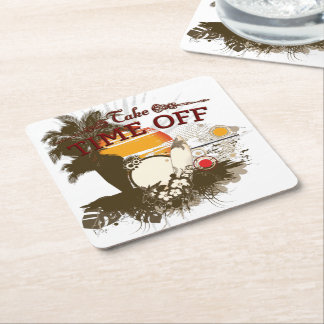 Take Time Off Square Coasters