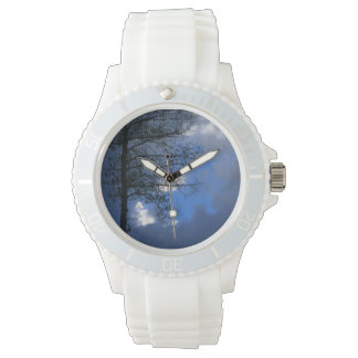 Take Time to Dream Solitary Aspen in Clouds Wrist Watch