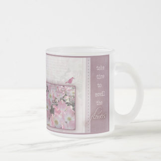 Take time to smell the flowers frosted glass coffee mug