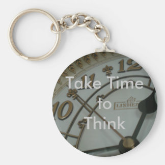 Take Time to Think Basic Round Button Keychain