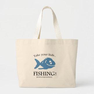 Take your Kids fishing! Large Tote Bag