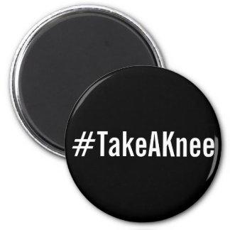 #TakeAKnee, bold white letters on black magnet