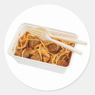 Takeaway meatball spaghetti classic round sticker