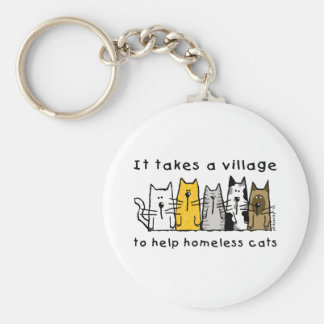 Takes a Village Help Homeless Cats Basic Round Button Keychain