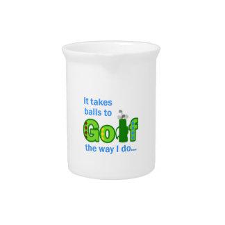 takes balls to golf pitcher