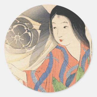 Takeuchi Keishu Tora Gozen japanese vintage lady Classic Round Sticker