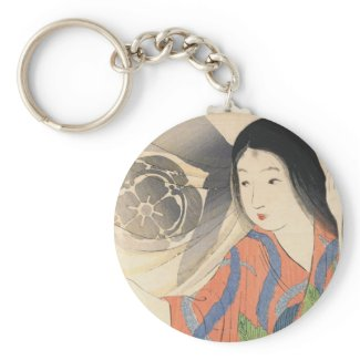 Takeuchi Keishu Tora Gozen japanese vintage lady Keychains