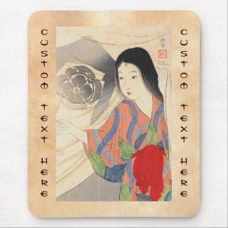 Takeuchi Keishu Tora Gozen japanese vintage lady Mousepad
