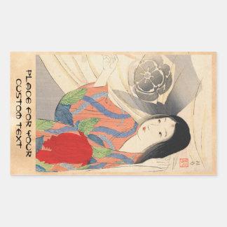 Takeuchi Keishu Tora Gozen japanese vintage lady Rectangular Sticker