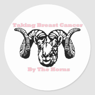 Taking Breast Cancer By The Ram Horns Classic Round Sticker