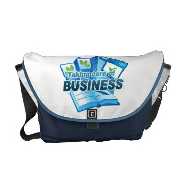 Professional Business Taking care of Business white/navy Messenger Bag