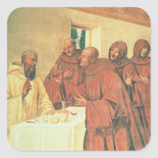 Taking Communion, from the Life of St. Benedict (f Square Sticker