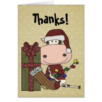 Taking Down the Decorations - Cow Thank You Card