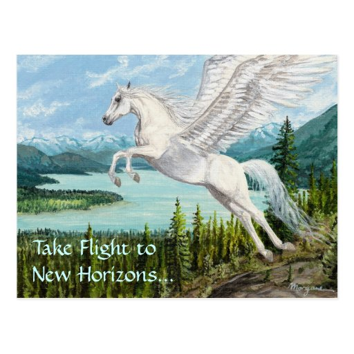 Taking Flight Pegasus horse fantasy postcard
