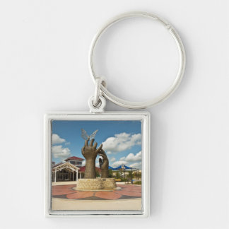 Taking Flight sculpture 2 Silver-Colored Square Keychain