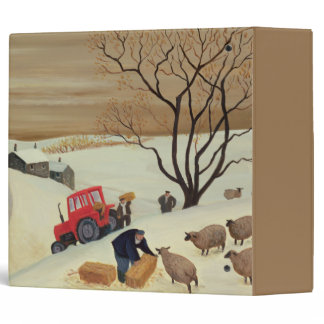 Taking Hay to the Sheep by Tractor 3 Ring Binder