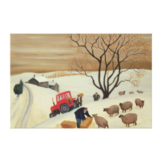 Taking Hay to the Sheep by Tractor Canvas Print