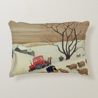 Taking Hay to the Sheep by Tractor Decorative Pillow