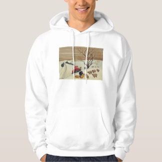 Taking Hay to the Sheep by Tractor Hoodie