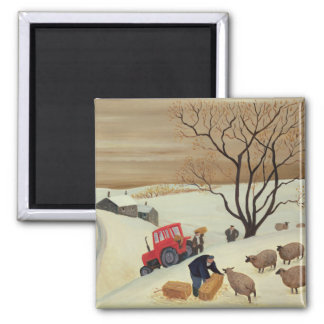 Taking Hay to the Sheep by Tractor Magnet