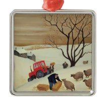Taking Hay to the Sheep by Tractor Metal Ornament