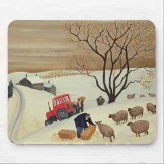 Taking Hay to the Sheep by Tractor Mouse Pad