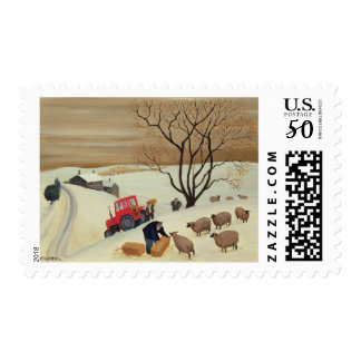 Taking Hay to the Sheep by Tractor Postage
