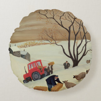 Taking Hay to the Sheep by Tractor Round Pillow