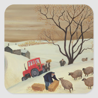Taking Hay to the Sheep by Tractor Square Sticker