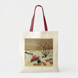 Taking Hay to the Sheep by Tractor Tote Bag