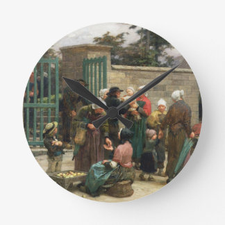 Taking in Foundlings (oil on canvas) Round Clock