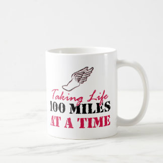 Taking life 100 miles at a time classic white coffee mug
