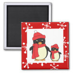 Taking Little Penguin for a Walk 2 Inch Square Magnet